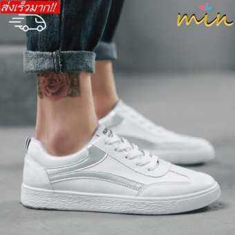 MIN.รองเท้าผ้าใบผู้ชาย สันทนาการ แนวโน้ม รองเท้าผ้าใบสีขาว-