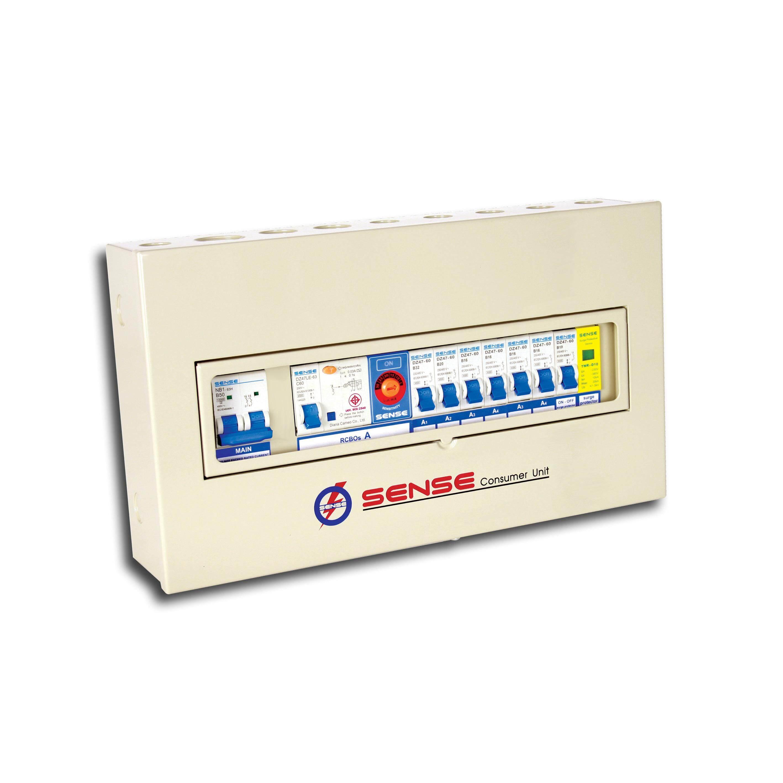 ตู้ควบคุมไฟฟ้า (ตู้คอนซูมเมอร์ยูนิต) ขนาด 6 ช่อง พร้อม เครื่องตัดไฟรั่ว (rcd) และอุปกรณ์ป้องกันฟ้าผ่า (surge Protective Device) ในตัว เซนส์ รุ่น S6n  1 ตู้ ตู้sense กันดูด.