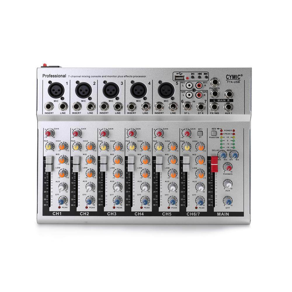 Mini Household Portable Audio Mixer with USB DJ Sound Mixing Console 48V  Amplifier for Party white EU plug 7 Channel