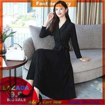 2019 ฤดูใบไม้ร่วงผู้หญิงเกาหลีแขนยาวอารมณ์ชุดเดรสยาวพอดีตัว V คอยาวชุดเดรสกระโปรงบาน-