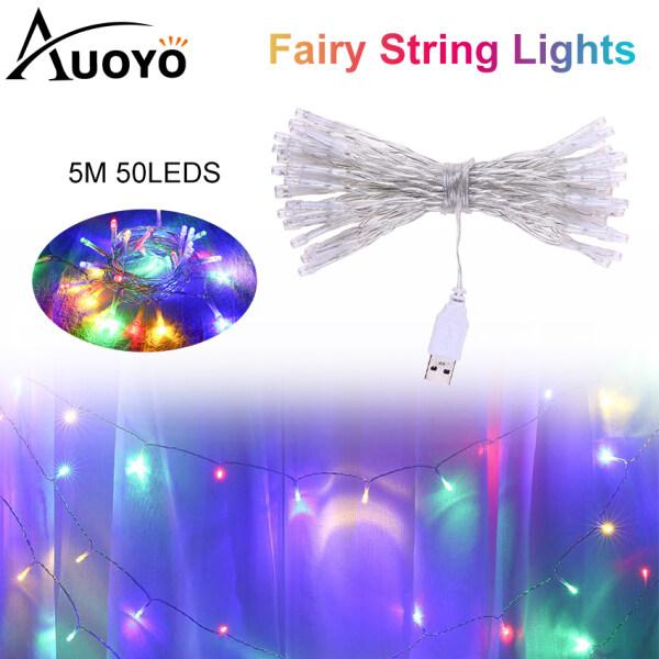 Auoyo 50LED Đèn  Ngủ LED Dây LED Đèn trang trí chớp nháy có LED Đèn dây đồng USB Sạc Dây đèn trang trí phòng 5M Fairy Light