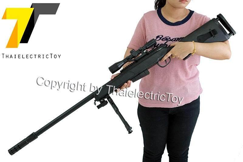 ปืนยิงลูกกระสุนเจล Sniper Rifle สีดำ หนัก 2.5 Kg. ยาว 127 Cm. แถมกระสุน 7-8 Mm 1,000 นัด By Thaielectrictoy.