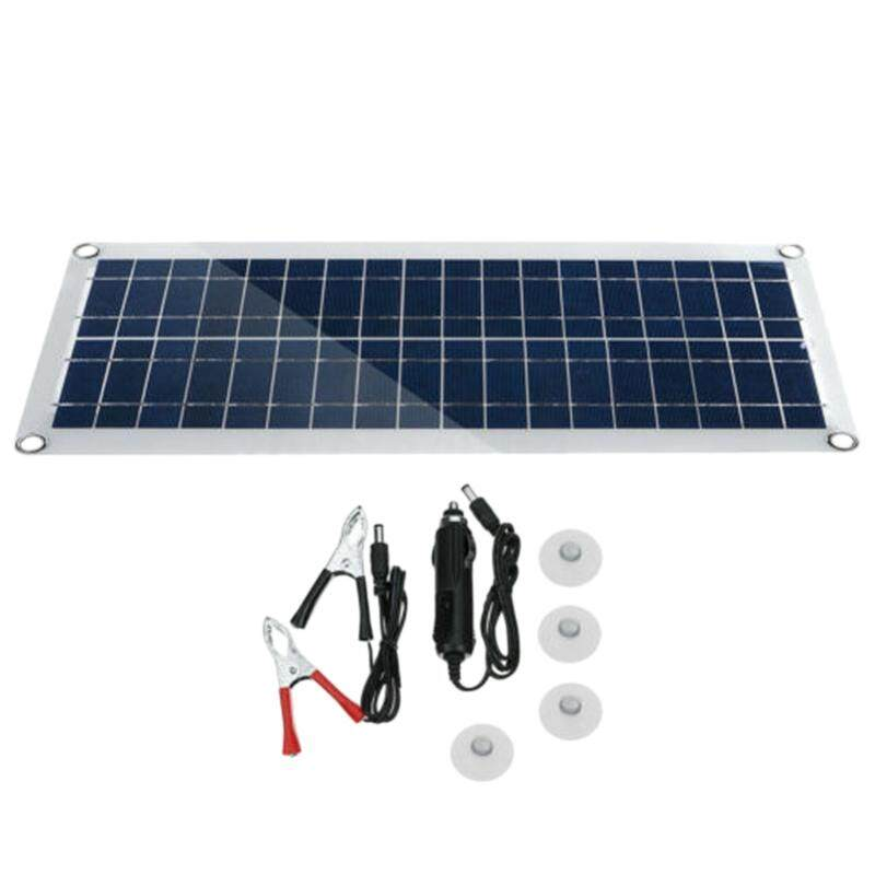 30W 12V Dual USB Flexible Solar Panel Kit Crocodile Clip Outdoor Car Charger Power Battery Charge
