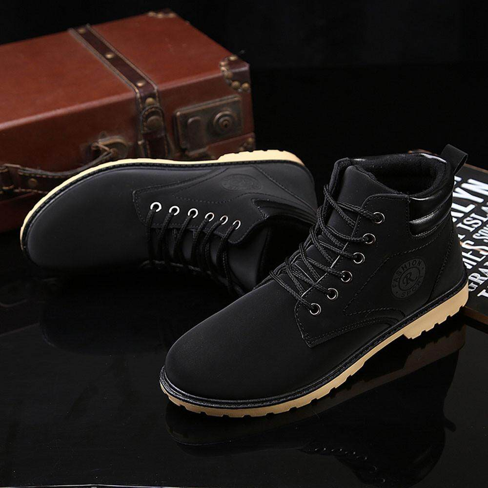 (audestore)_ผู้ชายรองเท้าข้อเท้าขนเรียงรายฤดูหนาวฤดูใบไม้ร่วงที่อบอุ่นเชือกผูกรองเท้ารองเท้ารองเท้ามาร์ติน Free Shipping By Audestore.