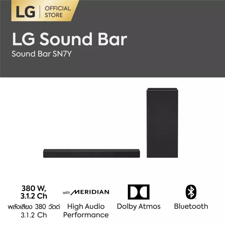 Lg Sound Bar รุ่น Sn7y ลำโพงแบบ 3.1.2 Ch พลังเสียง 380วัตต์ L Dolby Atmos L Dts:x L Meridian L Hi-Res Audio.