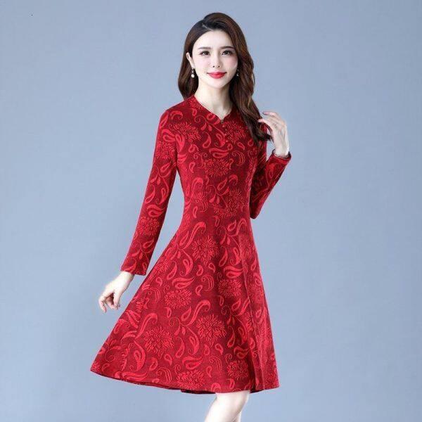 2020 autumn new improved cheongSam 40-50 tuổi Váy của mẹ xuân và Mùa thu jacquared long tay áo Y86T