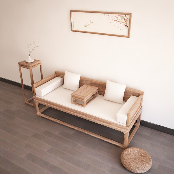 New Chinese Style Arhat Bed Old Elm Bed with Rollers Chair Small Solid Wood Scaling Sofa Couch chuang ta Teahouse Furniture