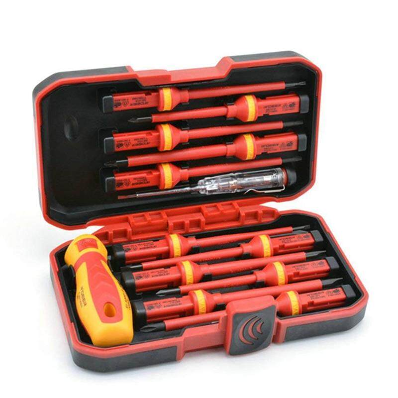 1000V 13Pcs Electricians Insulated Screwdriver Tool Set Voltage Tester With Case