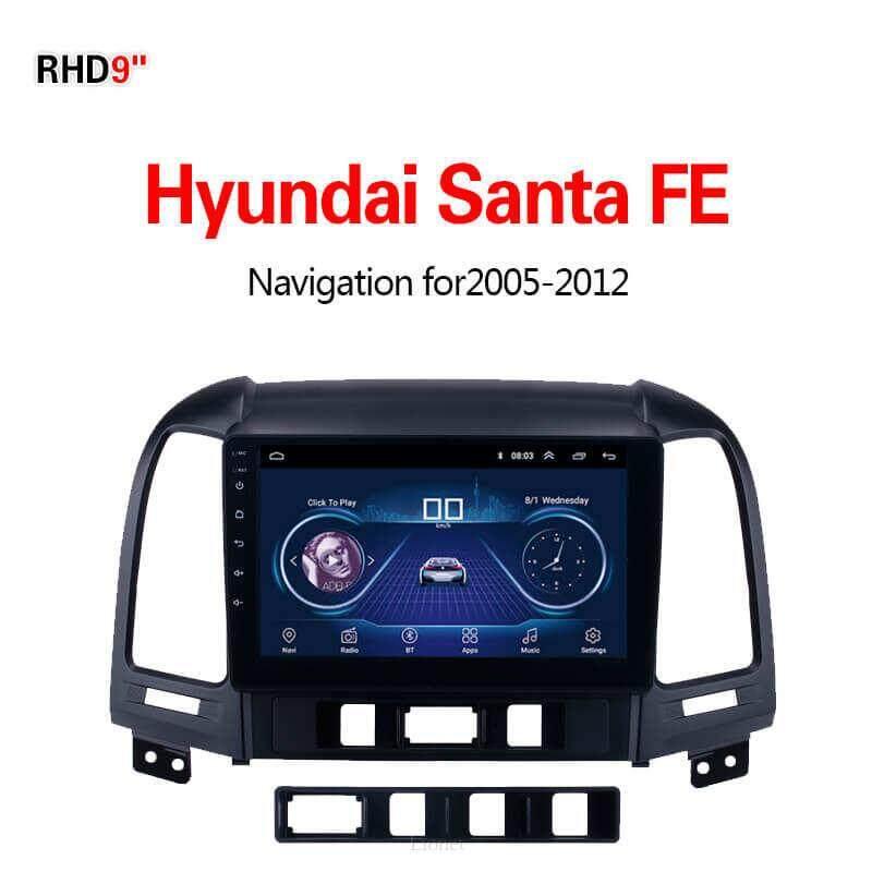 เครื่องนำทาง สำหรับรถยนต์ Hyundai Santa Fe 2005-2012 9 Inch Android 8.1 Wifi 1g/16g แผนที่ในการนำทาง By Gointer.