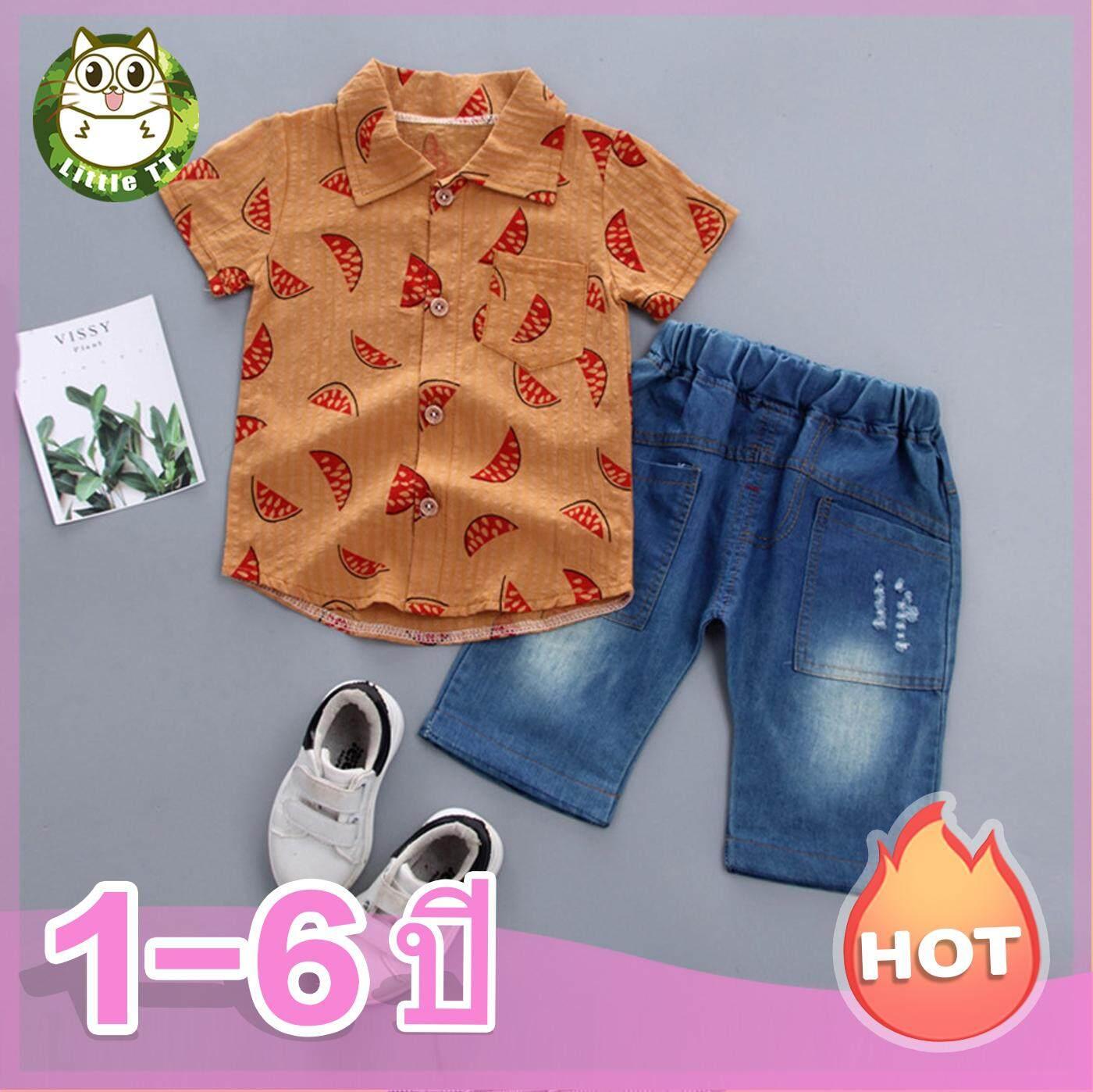Baby ชุดเซต 2 ชิ้น ชุดเด็ก เสื้อผ้าเด็กเข้าชุด เสื้อเชิ้ต แขนสั้น กระดุมหน้า (แบบแผน) + กางเกงเอวยางยืด (กางเกงขาสั้นผ้าเดนิม) เด็กอายุ 1 ~ 6 ปี