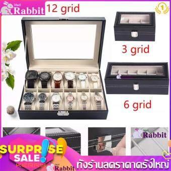Rabbit MAll กล่องเก็บนาฬิกาแสดงหนัง pu ระดับไฮเอนด์ 3/6/10/12 / กล่องเครื่องประดับสล็อต 【Free Shipping】