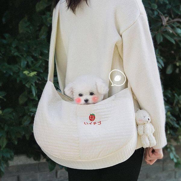 WENBA64 Trọng lượng nhẹ Dễ thương cho Puppy, Kitten Túi đồ ăn nhẹ cho thú cưng để Đi bộ, Du lịch Đồ dùng ngoài trời cho thú cưng Túi thú cưng Người vận chuyển chó Cat Slings Pouch Túi đeo vai đơn