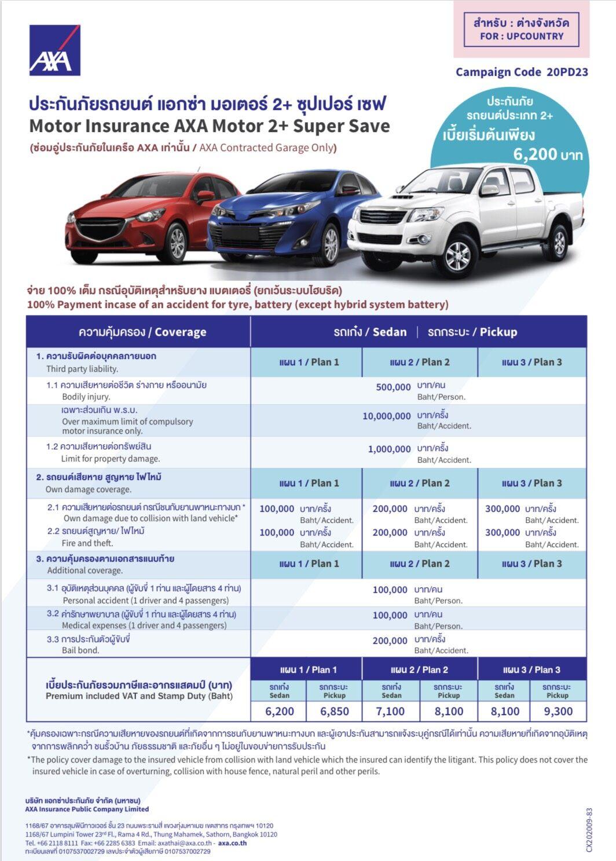 ประกันภัย ประกันภัยรถยนต์ ป.2+ แอกซ่า มอเตอร์2+ ซุปเปอร์เซฟ ทุน 100,000 ทะเบียนต่างจังหวัด รถกระบะตอนเดียว,แคป คุ้มครองทันที 1 ปี