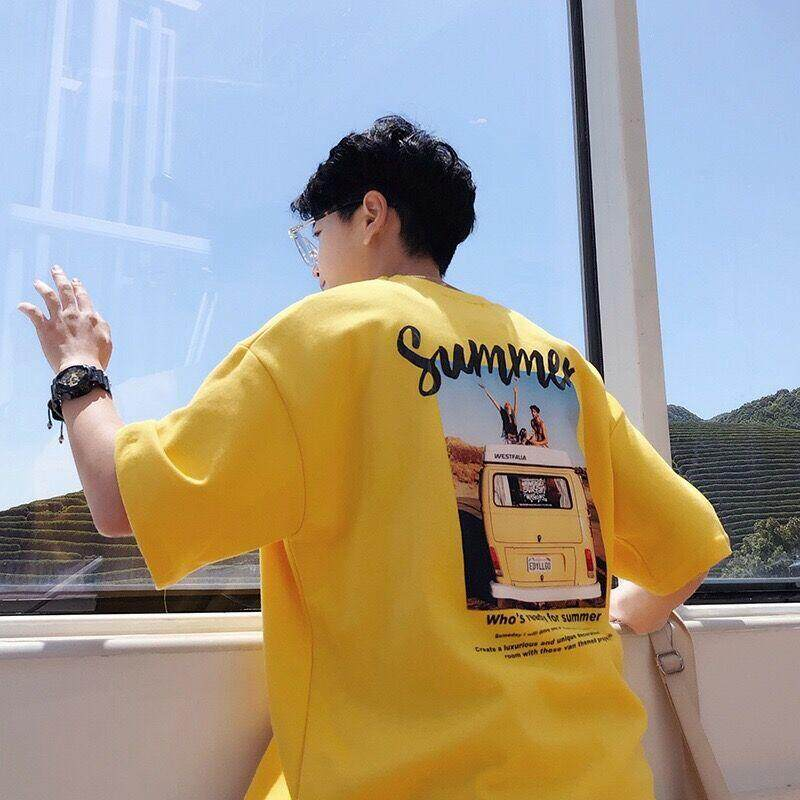 TS เสื้อยืดคอกลมแขนสั้น oversize ผู้ชาย Men Short Sleeve T-Shirt(สีเหลือง)รุ่น 0047