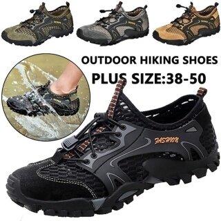 (San zu) Giày nam nhanh khô nước Giày đi bộ đường dài ngoài trời Giày lội ngoài trời Giày lưới thoáng khí 39-48 thumbnail