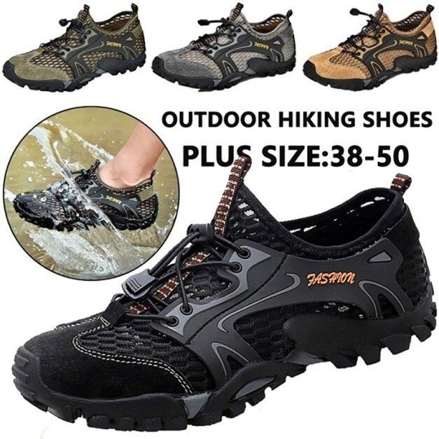 (San zu) Giày nam nhanh khô nước Giày đi bộ đường dài ngoài trời Giày lội ngoài trời Giày lưới thoáng khí 39-48 giá rẻ