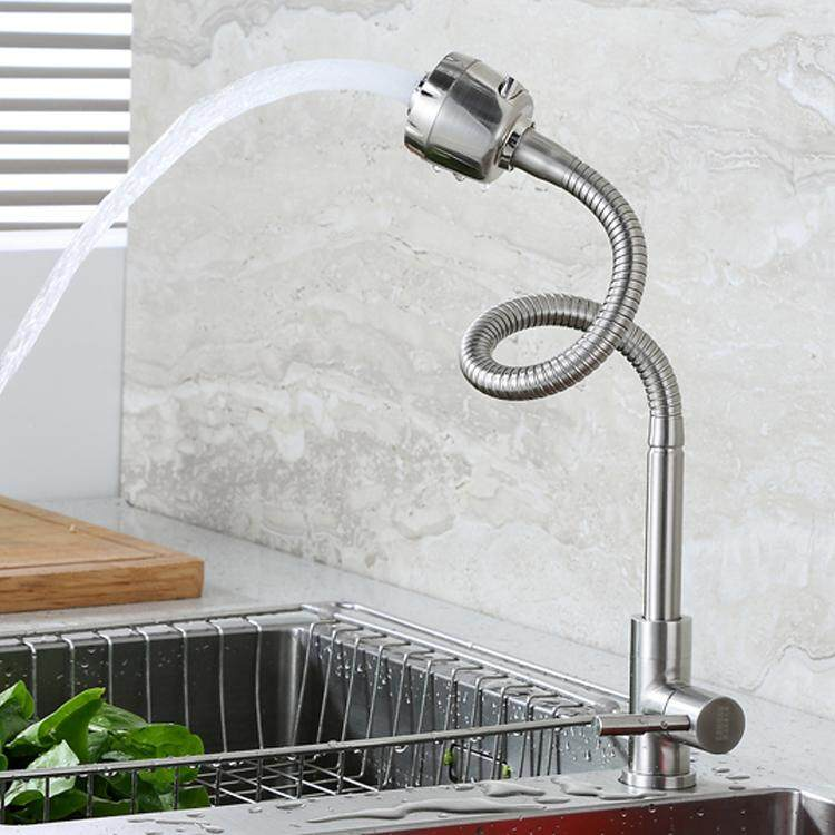 ก๊อกน้ำ อเนกประสงค์ ซิ้งค์ล้างจาน ล้างหน้า  สแตนเลส 304 ดัดงอได้ ปรับน้ำ