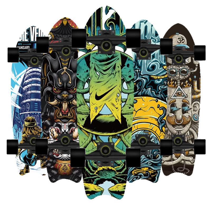 [72*20*12cm] Skateboard Tiktok เซิฟสเก็ตบอร์ด เซิร์ฟสเก็ต สเก็ตบอร์ดแท้ๆ เซิฟสเก็ต หางปลา กระดานโต้คลื่นบนบกที่สามารถใช้ได้ทั้งชายและหญิง.
