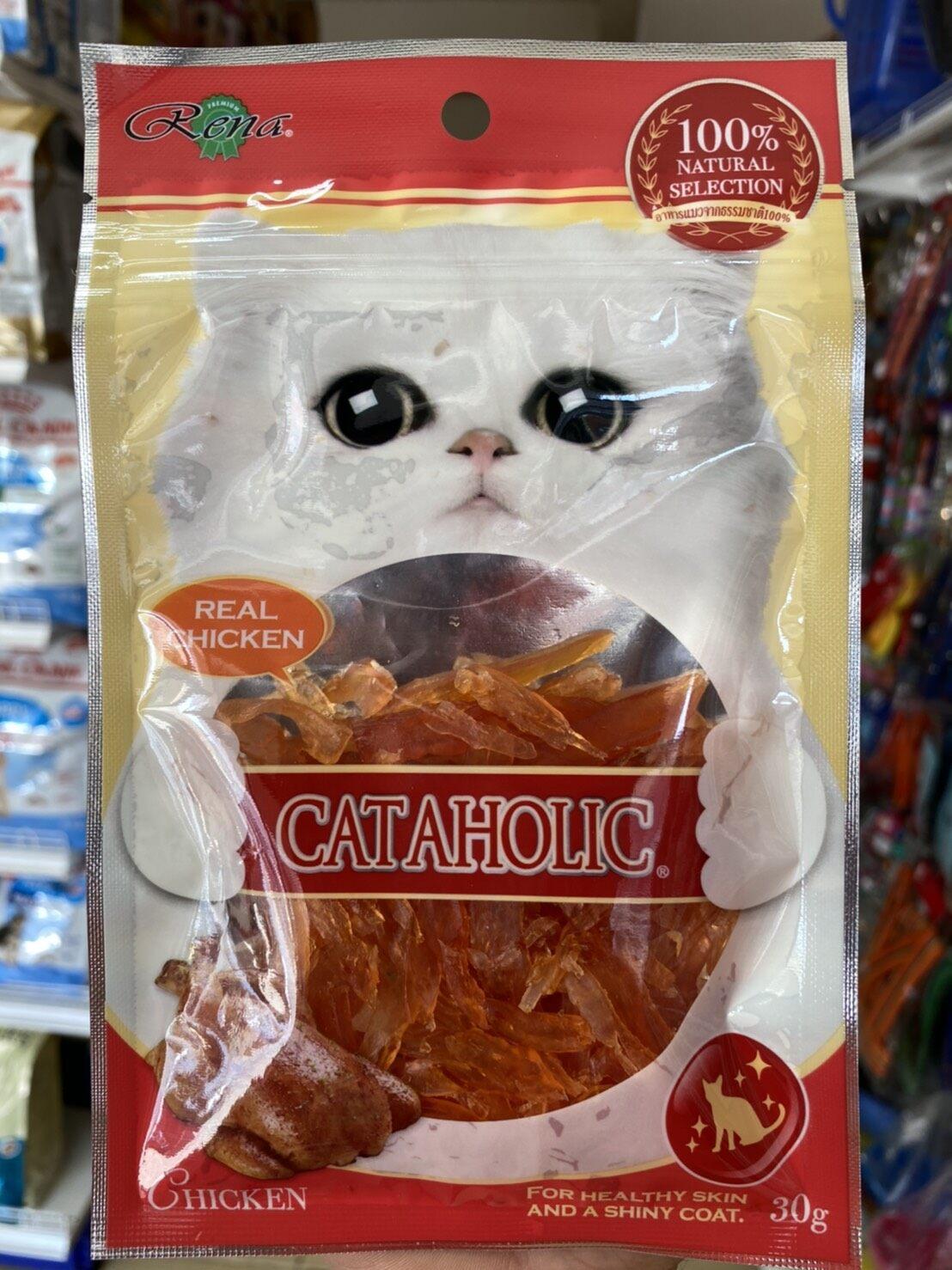 Cat Treat ขนมแมว Cataholic รสไก่สไลด์ Chicken แมวชอบอร่อยมาก.