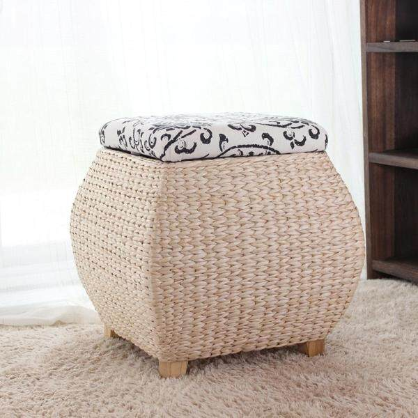 Free Shipping Rattan Straw Storage Chair Footstool Storage Stool with Cap Organizing Storage Box Shoes Foot Bench Sofa Square Stool