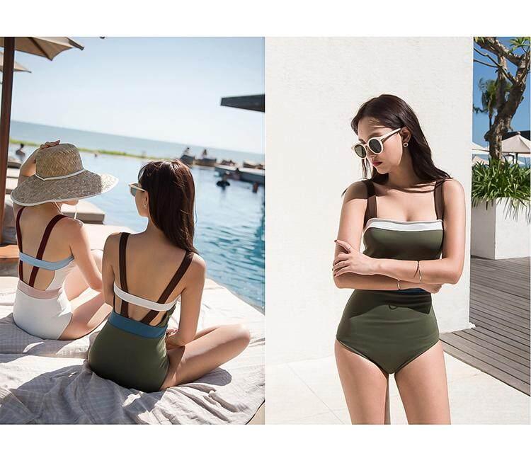 Premium swimsuit สไตล์เกาหลีบิกินี่ชิ้นเดียวชุดว่ายน้ำสายชายหาด