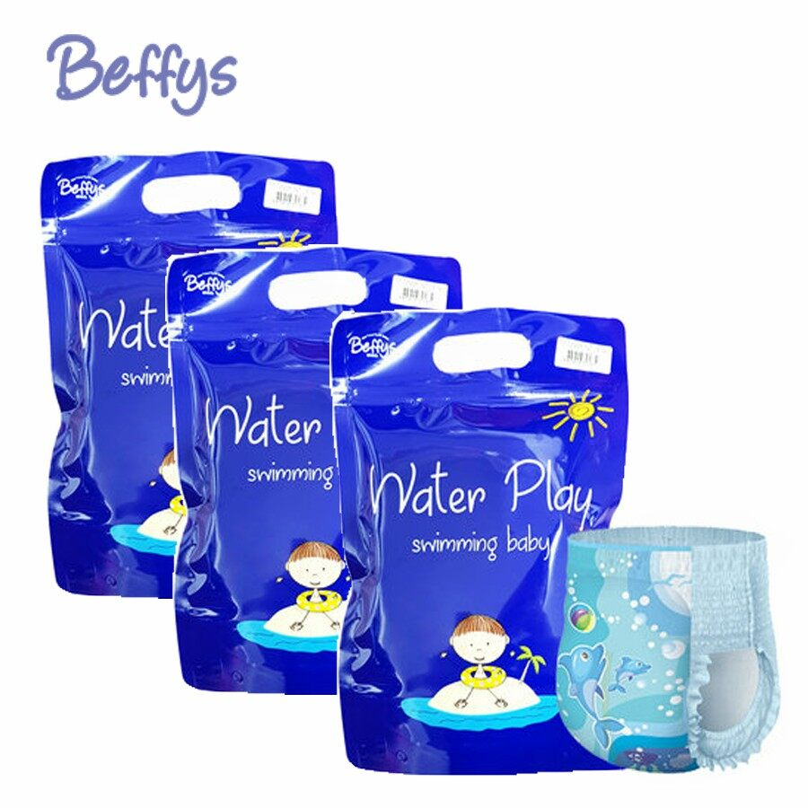 Beffys swimming diapers pant size L blue (10-17kg) 3packs