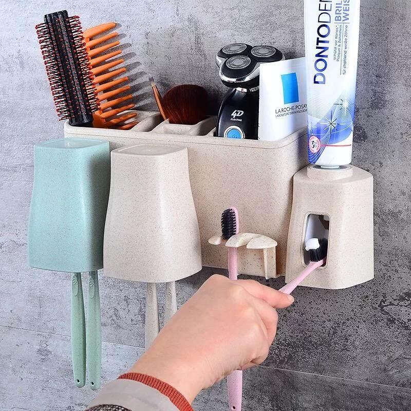 ชุดที่เก็บแปรงสีฟันและยาสีฟัน พร้อมแก้วน้ำ ติดผนัง 2 สี/ชุด By Aiphard.
