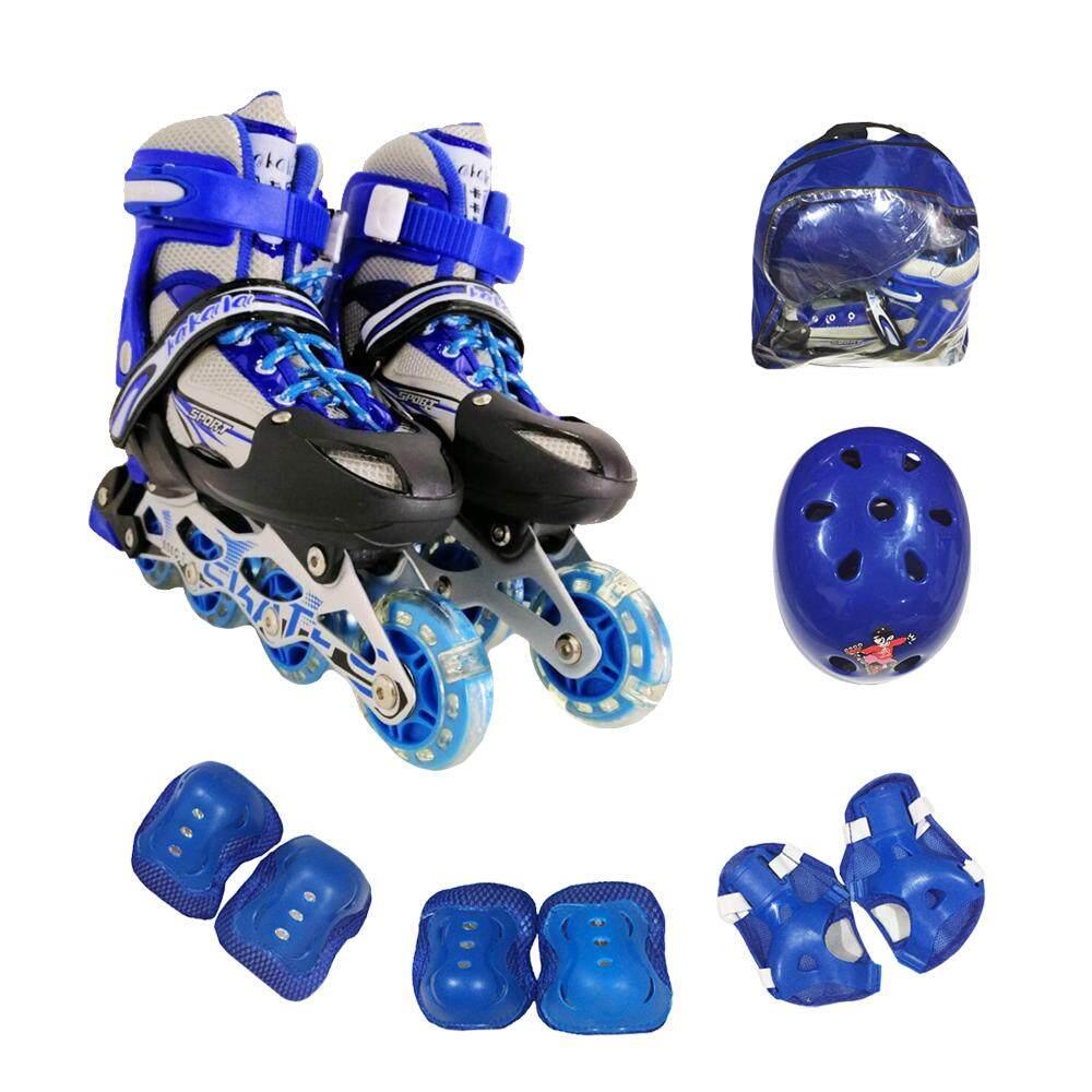 รองเท้าสเก็ต รองเท้าโรลเลอร์เบลด พร้อมชุดป้องกัน6ชิ้นและหมวก1ใบ+กระเป๋า1ใบ.
