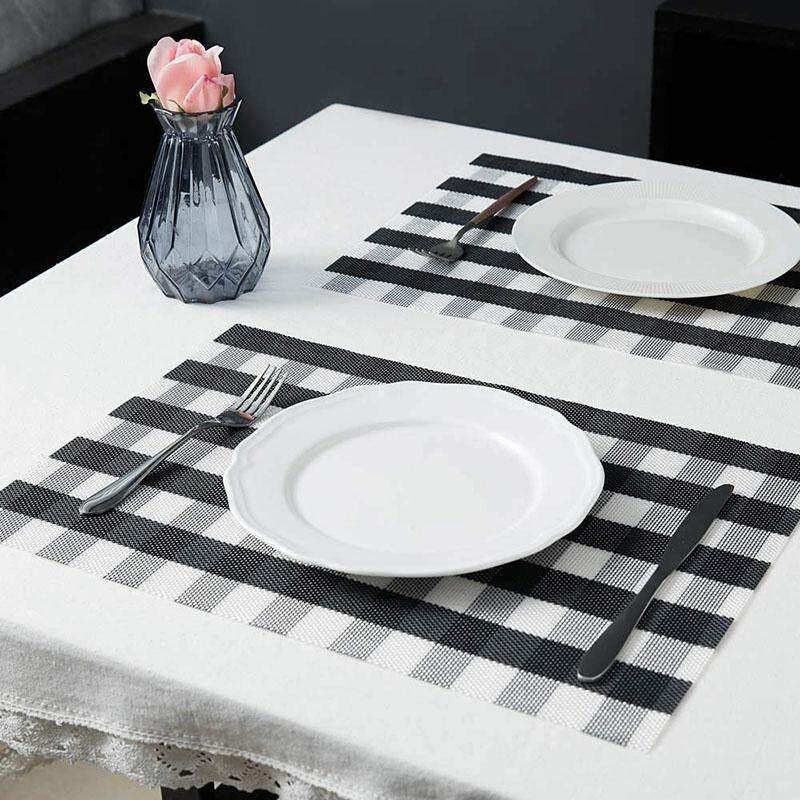 Table Mats,Placemat Set of 8 Non-Slip Washable Place Mats,Heat Resistant Kitchen Tablemats for Dining Table (Black and White)