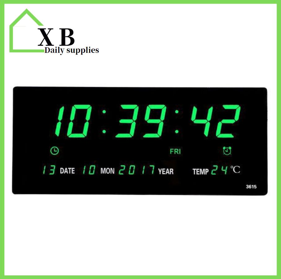 Telecorsa นาฬิกาดิจิตอลLED DIGITAL CLOCKแขวนผนังรุ่นJH3615 (ตัวเลขสีเขียว)