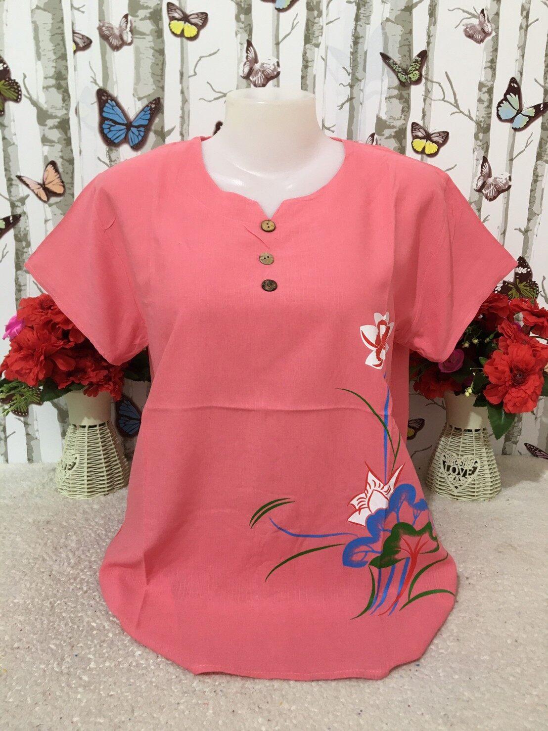 เสื้อผู้หญิง เสื้อผ้าสปัน รอบอก38-44นิ้ว เสื้อแขนสั้น เสื้อผ้าสาวอวบ เสื้อผ้าแฟชั่นผู้หญิง รุ่น001.