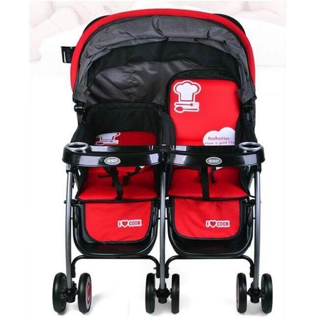 รถเข็นเด็กแฝด สีดำ/แดง (ปรับได้นอน 3 ระดับ) (สินค้าขายดี).