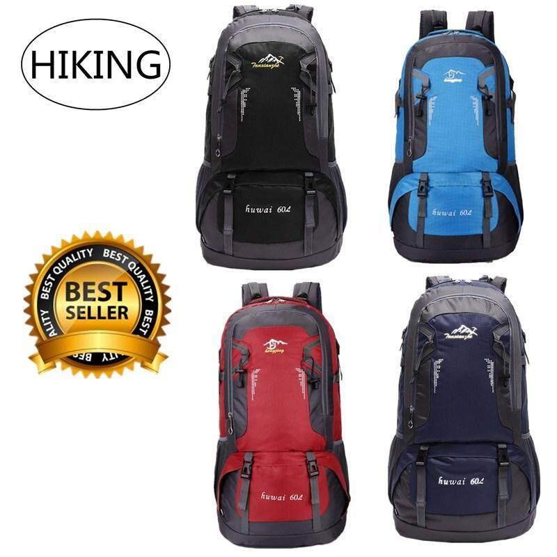 HIKING Huwai 60 L กระเป๋าเดินทาง ใหญ่ ที่สุด ขนาด จุสะใจถึง 60 ลิตร เป้สะพายหลัง เหมาะสำหรับสวมใส่เดินทาง ของแท้ 60L Waterproof Outdoor Backpack Rucksack Sports Hiking Climbing Travel Shoulder Bag Pack Mountaineering Bag