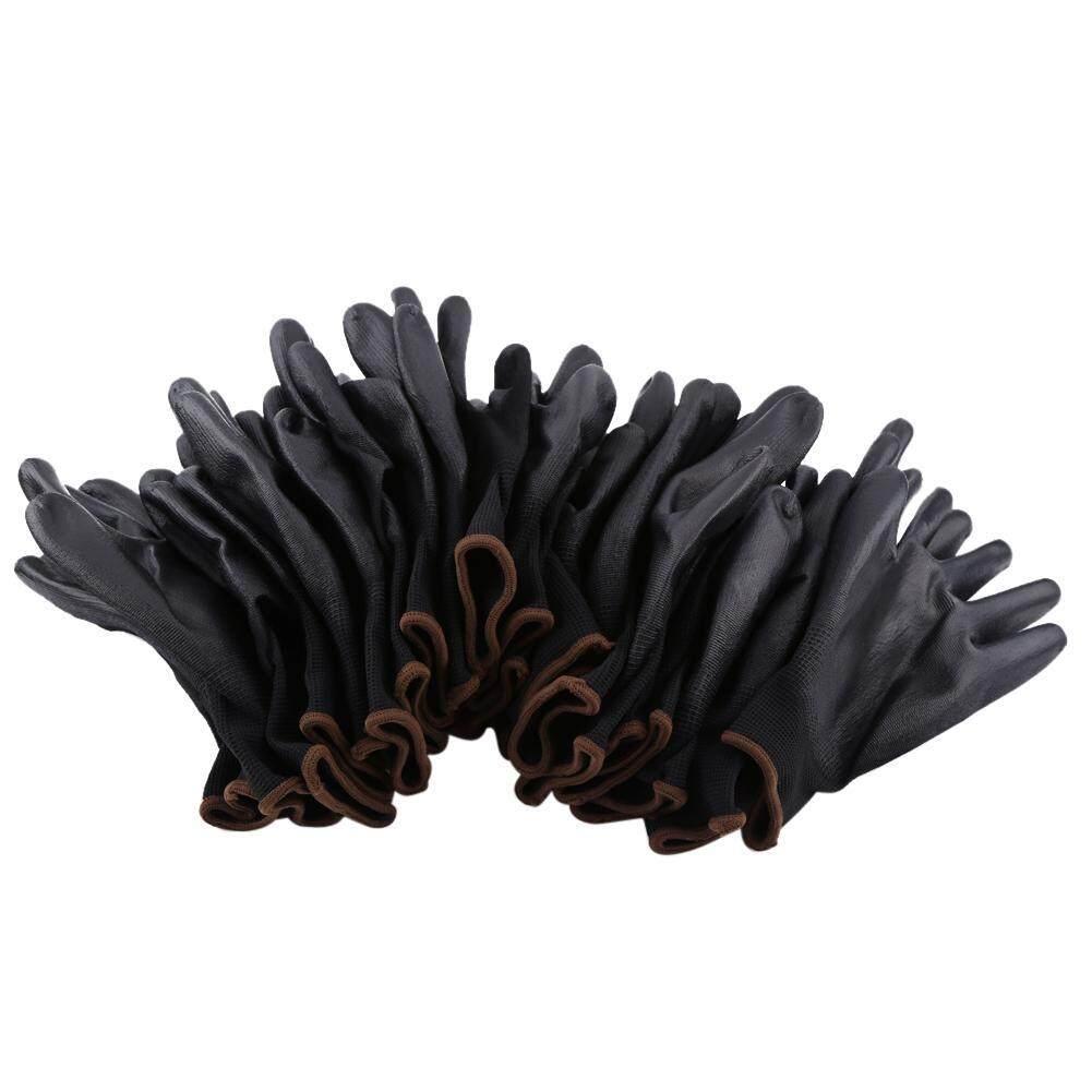 Shuxiz 12 Đôi Màu Đen Nylon PU An Toàn Lòng Bàn Tay Phủ Công Việc Găng Tay/S/M/L Kích Thước Tùy Chọn