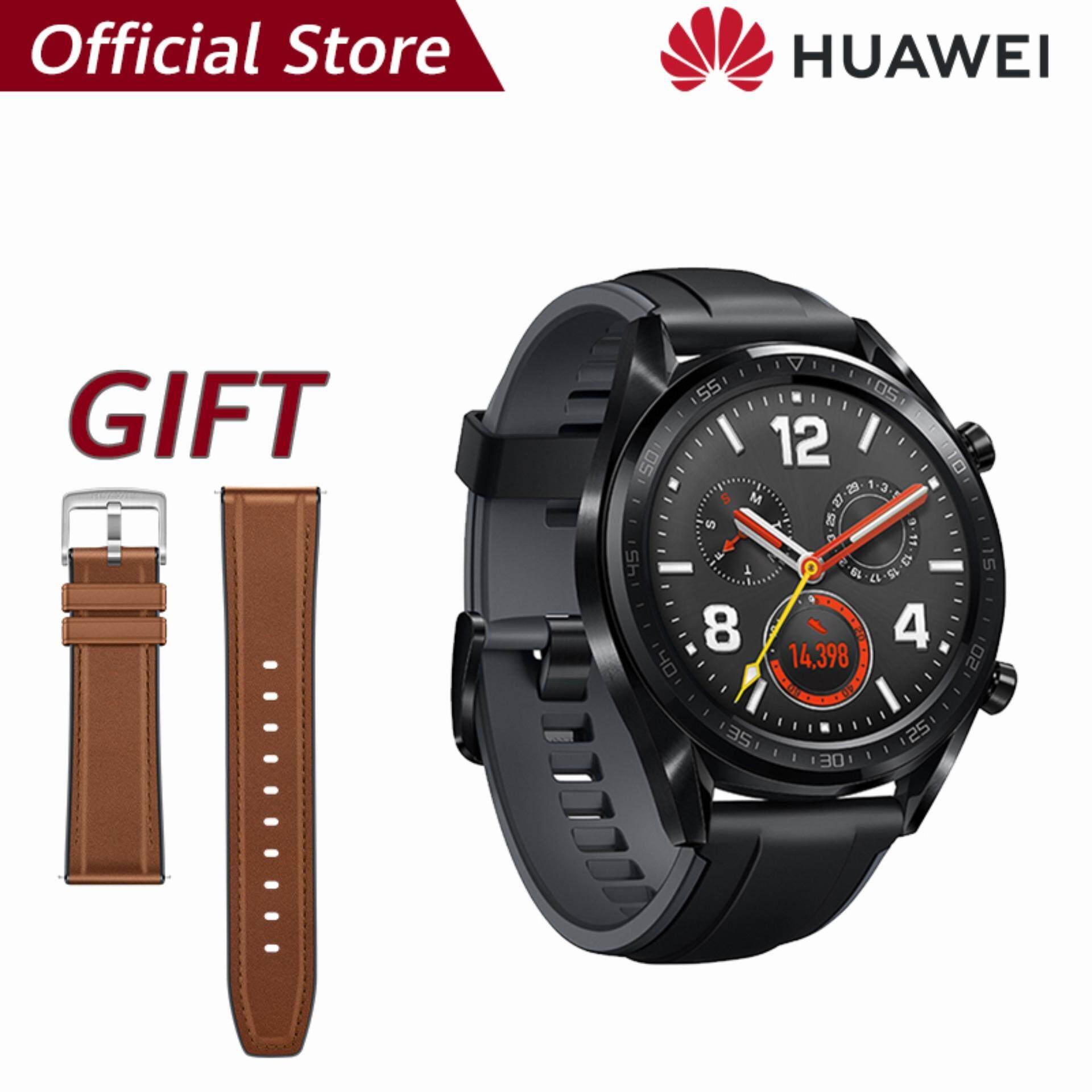 【ผ่อน 0% 10 เดือน】Huawei Watch GT แบตเตอรี่ที่แข็งแกร่ง*พร้อมของแถมHUAWEI Strap สี Brown