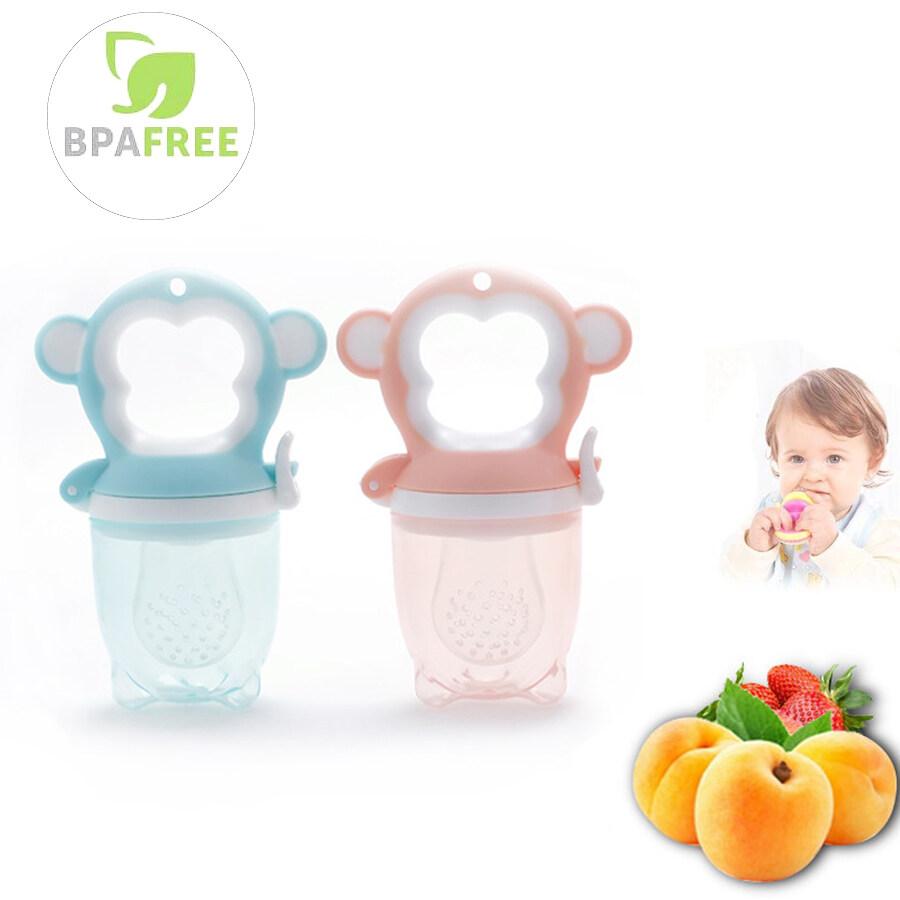 ทารก เครื่องทำให้สงบ จุกดูดผลไม้ ซิลิโคนนิ่ม สำหรับใส่ผลไม้หรืออาหาร พร้อมฝาปิด Silicone baby food feeder Pacifier Infant Soother feeder Fresh Fruit Bomart