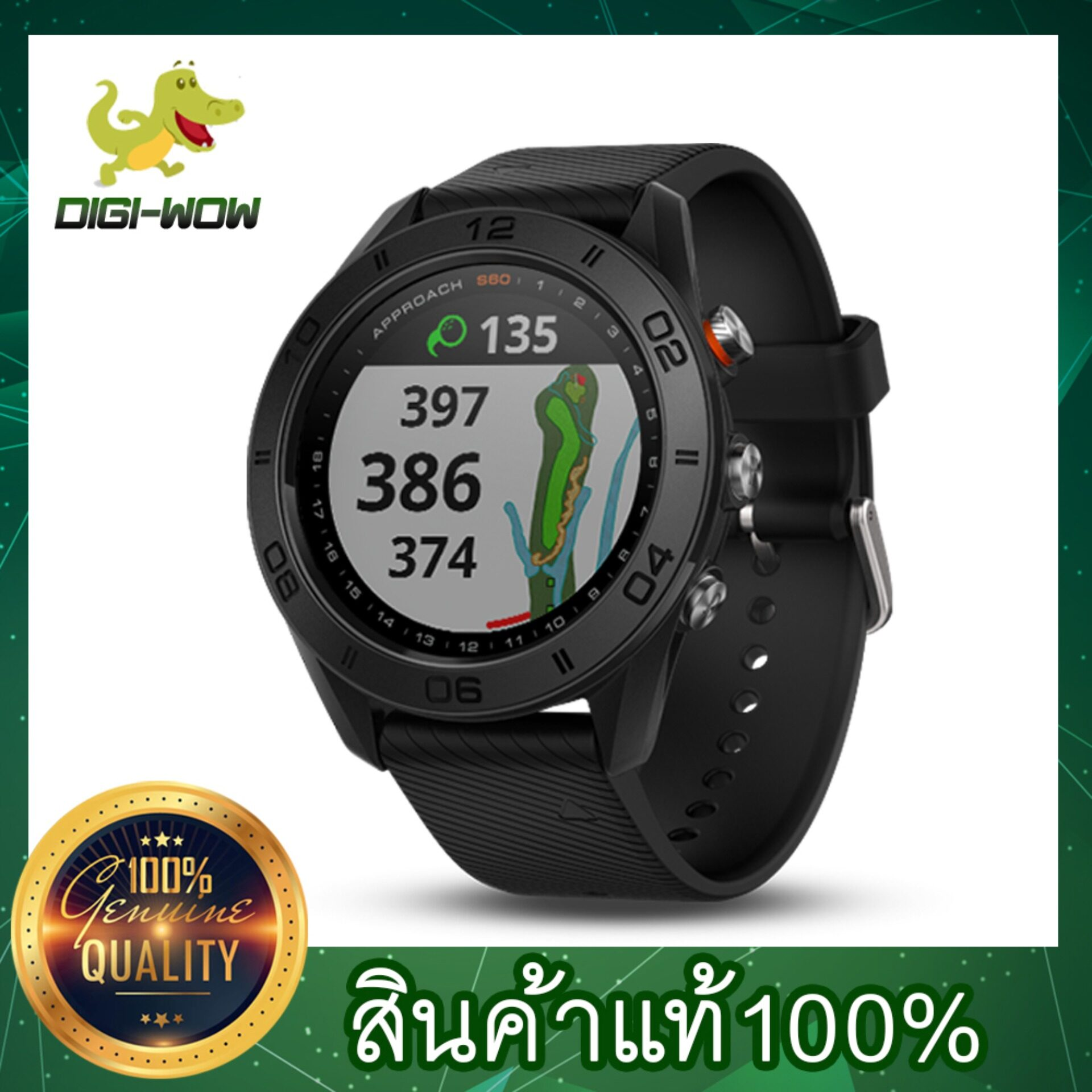 Garmin Approach S60 Gps Golf Watch Black With Black Band (มีเมนูภาษาไทย) 010-01702-20.