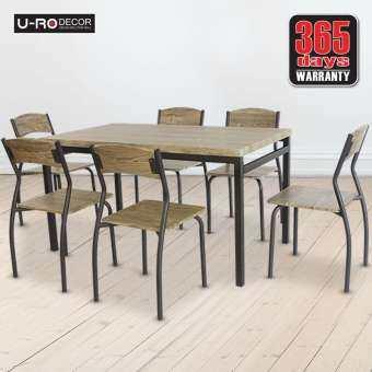 U-RO DECOR ชุดโต๊ะรับประทานอาหาร SONOMA  สีโอ๊ค/ขาสีน้ำตาลเข้ม/จุกสีเทา (โต๊ะ 1+เก้าอี้ 6 ตัว) ชุดโต-
