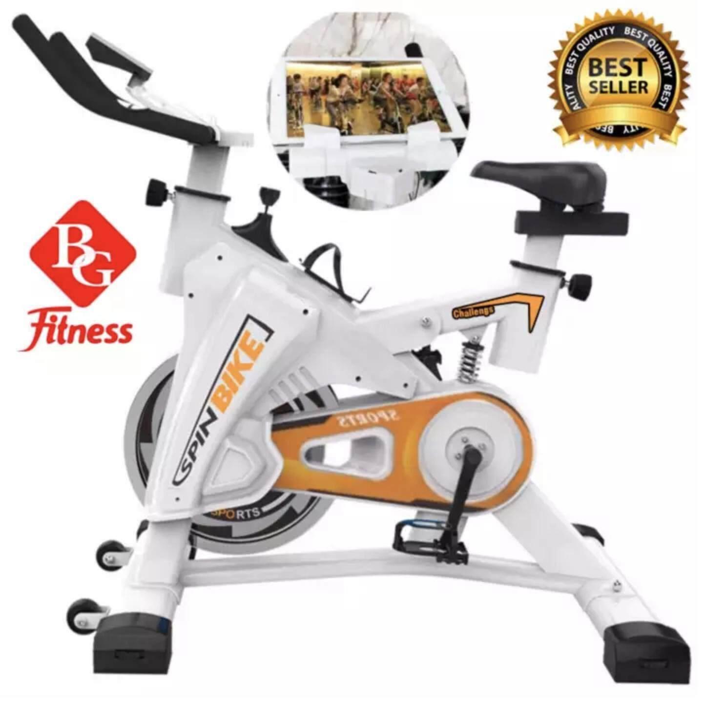 B&G SPIN BIKE จักรยานออกกำลังกาย Exercise Fitness Spin Bike Commercial Grade ระบบสายพาน (White-Orange) - รุ่น S306