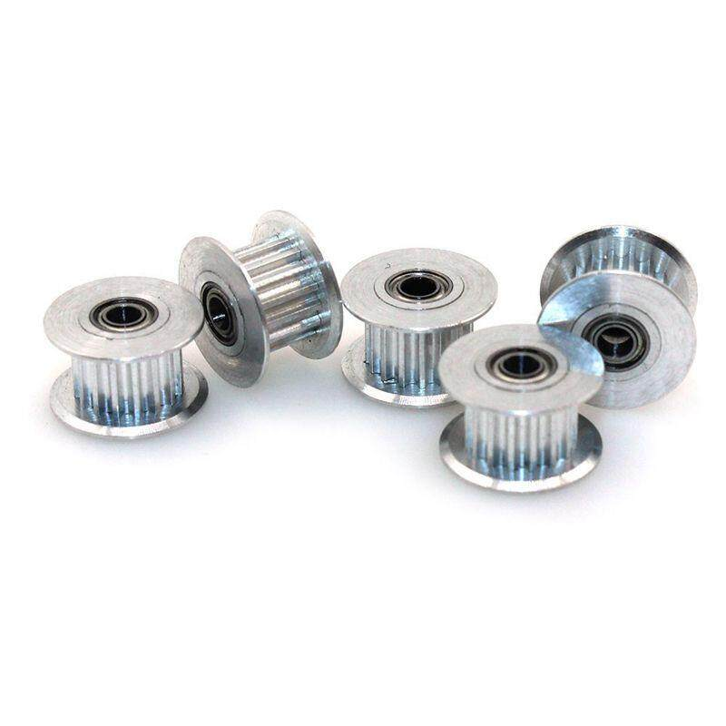 GT2 16Teeth 3mm Bore Aluminum Timing Belt Idler Pulley for 3D Printer 6mm Width Timing Belt (Pack of 5pcs),silver