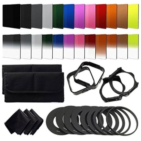 24pcs Nd + Graduated Filters + 9pcs Adapter Ring, Lens Hood Filter Holder For Cokin P Series.