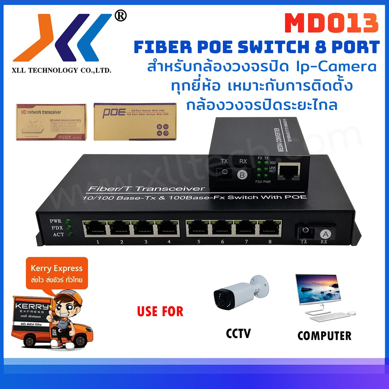 8 Port Poe Fiber Switch 8 Port สำหรับกล้องวงจรปิด Ip-Camera ทุกยี่ห้อเหมาะกับการติดตั้งกล้องวงจรปิดระยะไกล.