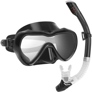 Snorkel Set Anti-Fog Snorkel Mask with Anti-Leak Fully Dry Snorkel Tube for Women Men Swimming and Scuba Diving thumbnail