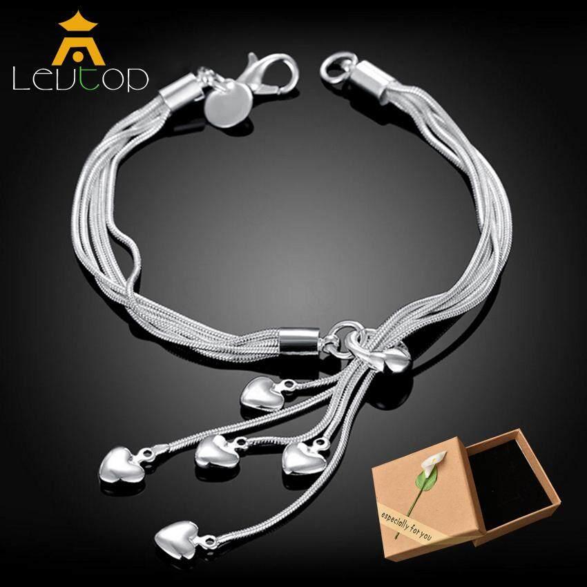 2bdbb5806 LEVTOP Woman Bracelet S925 Sterling Silver Bracelets Adjustable Fashion  Fringed Chain Bracelets Ladies Bangles Jewellry Charm