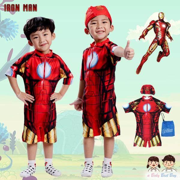Swimming Suit for Boy-Iron Man ชุดว่ายน้ำเด็กผู้ชาย สีแดง บอดี้สูทเสื้อแขนสั้นกางเกงขาสั้นซิบหน้า พร้อมหมวกว่ายน้ำและถุงผ้า ลิขสิทธิ์แท้