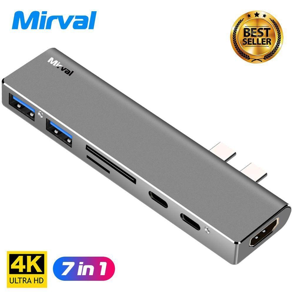 Mirval HUB7 USB 3.1 Type-C Hub To HDMI Adapter 4K Thunderbolt 3 USB C Hub with Hub 3.0 TF SD Reader Slot PD for MacBook Pro/Air