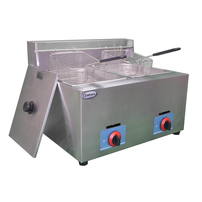 GMAXหม้อทอดแก๊ส 2 อ่าง 12 ลิตร อ่างละ 6 ลิตร รุ่น ZL72(สแตนเลสอย่างหนา)