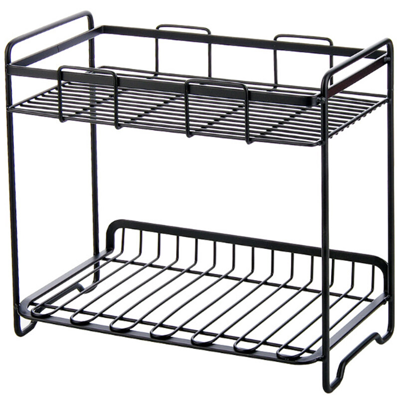 Wrought Iron Storage Rack Multi-Storey Sundries Storage Shelf for Kitchen Bathroom Bedroom Balcony