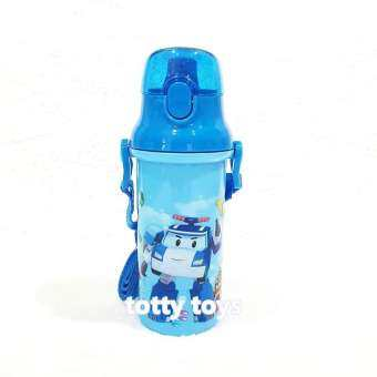 กระติกน้ำเด็ก มีสายสะพายแบบยกดื่ม + ใส่หลอดดูดได้ ลาย โพลี คาร์ (ฟ้า)