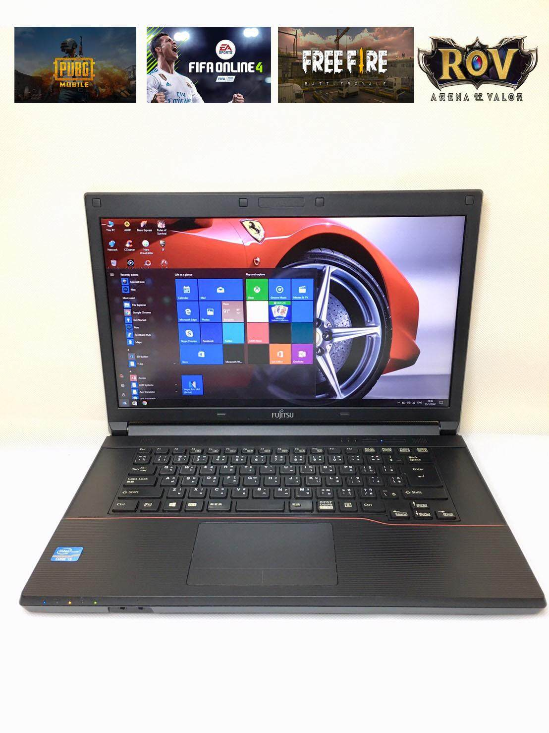 โน๊ตบุ๊ค Notebook Fujitsu Core I5 Ram 8 Gb.(rov, Free Fire, Pubgmobile, Fifa4, Hon, Pb, เล่นได้) By Niceit.